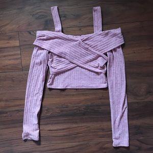Fashion Nova Pink Cold Shoulder Crop Top